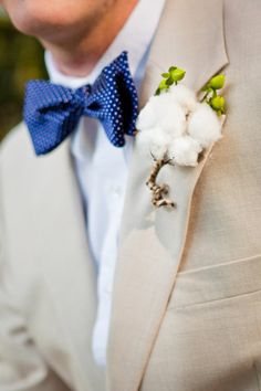 Love the cotton boutonniere for a southern wedding.and I always love a man in a bow Church Wedding, Wedding Groom, Wedding Attire, Casual Wedding, Wedding Suits, Wedding Dresses, Groom Attire, Groom And Groomsmen, Groom Wear