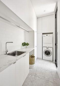 34 ideas for bath room design small white laundry rooms Modern Laundry Rooms, Laundry In Bathroom, Laundry In Kitchen, Ikea Laundry, Laundry Cabinets, Zen Bathroom, Basement Laundry, Bathroom Modern, Modern Room