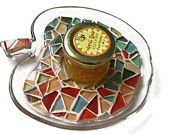 Glass Apple Honey Dish Plate Mosaic Jewish Rosh Hashana New year Art Home Decoration Red Green Serving Tray Candle Holder