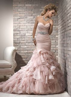 Maggie Sottero Pink Sweetheart Mermaid Wedding Dress