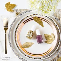 At this year's friendsgiving give the perfect party favors, essie's glittery gold 'rock at the top' and the deep dusty rose 'angora cardi' nail polishes. 'Tis the season to shower your friends with some stylish gratitude.
