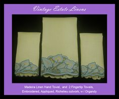 Madeira Linen hand towels with Richelieu lace