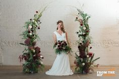 This photo shoot here at Moss Denver was shot by From the Hip Photo! The flowers were done by Project Floral! Bridal Bouquet Fall, Wedding Bouquets, Wedding Flowers, Wedding Altars, Wedding Ceremony, Maroon Wedding, Green Wedding, Wedding Photo Walls, Wedding Stage Decorations