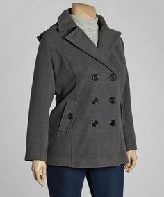 Take a look at this Charcoal Luxe Peacoat - Plus by INTL d.e.t.a.i.l.s. on #zulily today!