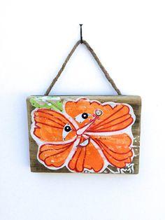 OOAK Tropical Flower Art on Reclaimed Wood-Floral by mangoseed