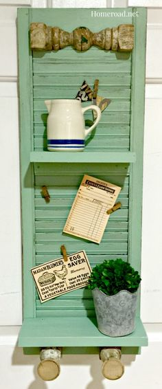 DIY Vintage shelf with antique spindle hooks created from an old shutter. www.homeroad.net