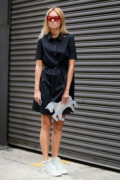 How to Style Your Sneakers in Summer - Black dress, Little Pony clutch, mirrored sunglasses, and hightop sneakers