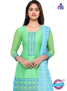 Visit Here RT 18037 Green Cotton Suits Online at Newshop.in.  #cottonsuitsonline #bestcottonsuits #green #newshop