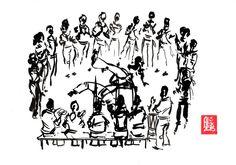 Encres : Capoeira – 467 « Jogo de dentro » [ #capoeira #watercolor #illustration] Encre sur papier 190gr / Ink on paper 190gr 21 x 29.7 cm / 8.3 x 11.7 in