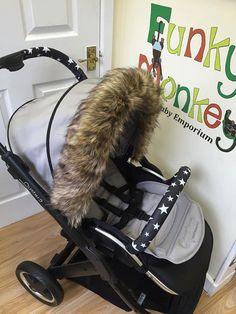 Grey Black Silver Fox Pushchair Luxury Fur Hood Trim