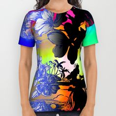 Buy Hula Dyed All Over Print Shirt by Vikki Salmela. Worldwide shipping available at Society6.com. New, #tropical #aloha #scenic #hula #palms #flowers on #fashion #apparel #tops for #her #leisurewear #fun #trendy and one of a kind.