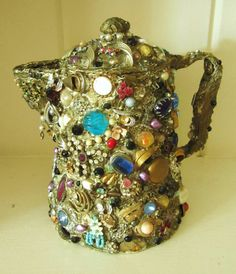 "A Unique and Kitschy Vintage Jewelry and button Mosaic Encrusted Gray Enamel Tea Pot - Folk Art ""Tramp"" Memory Jug Style"