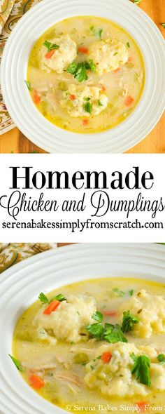 This Homemade Chicken or Turkey and Dumpling recipe is the ultimate comfort food! A great way to use leftover Turkey! serenabakessimplyfromscratch.com