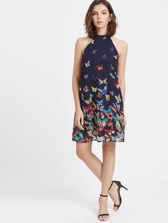 Vestido cuello halter con estampado mariposa - azul marino -Spanish SheIn(Sheinside) Sheinside, Butterfly Print, Halter Neck, Dress P, Summer Dresses, Chic, Clothes, Fashion, Singers