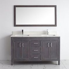 Spa Bathe Cora French Gray Undermount Double Sink Bathroom Vanity with Engineered Stone Top (Common: 60-in x 22-in; Actual: 60-in x 22-in)