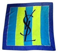 Saint Laurent YSL Blue and Green Silk Scarf