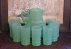 Vintage Dunbar Glass Green Water Set Pitcher & 9 Tumblers Jadeite Coloring Art Glass Handmade