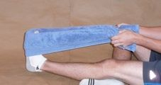 Plantar Faciitis exercise #4-Using a towel to stretch the arch of the foot.