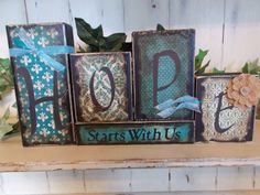 Hope Wood Block Sign by ktuschel on Etsy 4x4 Crafts, Scrap Wood Crafts, Wood Block Crafts, Wooden Crafts, Word Block, Block Art, 2x4 Wood Projects, Diy Projects, Country Crafts