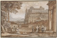 Queen Esther Approaching the Palace of Ahasuerus  Artist:Claude Lorrain (Claude Gellée) (French, Chamagne 1604/5?–1682 Rome) Date:1658Medium:Pen and brown ink; brown wash over black chalk; heightened with white