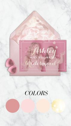 Palette of blush pink gold color are in this gorgeous bridesmaid card. for brides who like pretty stuff