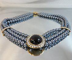 Vintage Gray Pearl Necklace Black Mabe Rhinestone by waalaa, $36.99