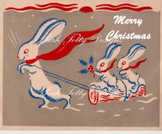 Bunnies In The Snow Christmas Art Deco 1930s by poshtottydesignz