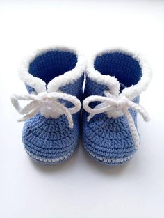 Blue Baby boots Crochet baby boots Knitted baby booties Soft