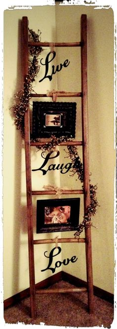 Old ladder redecorated. This would be cute to decorate for each holiday too.
