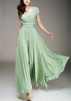 Maxi dress Chiffon dress Green dress V neck Large hem dress Wedding dress Beach dress Red White Purple Pink
