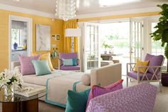 Color Scheme I'm aiming for in my apartment. Yellow, turquoise, purple, and cream