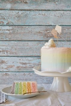 Curly Girl Kitchen: Somewhere Over the Rainbow Cake Vanilla and Coconut Milk Cake in Pastel Watercolor Rainbow Stripes. Perfect for a rainbow-themed party.