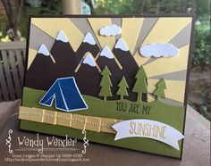 Always An Adventure, Sunshine Sayings, Stampin Up, Sunburst thinly, Banner Builder punch, Outdoor Adventure thinlits