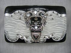 $22.00 Wallet- Black/Silver Rhinestone Buckle  www.prestigegalz.com Miss Mes, Cute Wallets, Cowgirl Bling, Silver Rhinestone, Country Style, Black Silver, Belt, Purses, Belts
