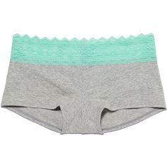 Victoria's Secret PINK Geo Lace Trim Boyshort Panty ($11) ❤ liked on Polyvore featuring intimates, panties, underwear, bottoms, lingerie, black lace panty, lace lingerie, black lace panties, lacy panties and lace panties