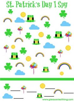 Patrick's Day I Spy Game - The Pleasantest Thing patricks day games St. Patrick's Day Printable – I Spy Game St Patrick Day Activities, Spring Activities, Holiday Activities, Preschool Activities, Preschool Printables, Exercise Activities, Montessori, St Paddys Day, St Patricks Day