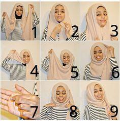 Dian Pelangi Hijab Style Tutorials For The Modern Women - HijabiWorld Turkish Hijab Tutorial, Square Hijab Tutorial, Pashmina Hijab Tutorial, Hijab Style Tutorial, Turban Hijab, Muslim Fashion, Hijab Fashion, Ethnic Fashion, Turkish Hijab Style