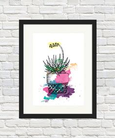 Succulent Pouch Pot Colour Print by BronwynHoustonArt on Etsy Succulent Wall Art, Cactus Print, Sign Printing, Indoor Plants, Color Splash, Etsy Store, Houston, Succulents, Pouch