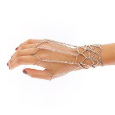 Wrap yourself in drama. The Chain Hand Harness curves silver-plated chains around your wrist and fingers, extending metal tendrils along the hand. The adjustable clasp allows for a precision fit.