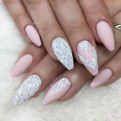 Light pink and silver glitter nails with chevron design