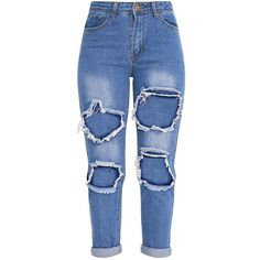 Kourtney Mid wash Open Knee and Bum Rip Mid Rise Jean ($40) ❤ liked on Polyvore featuring jeans, pants, loose fit jeans, medium wash jeans, ripped jeans, blue jeans and medium wash distressed jeans