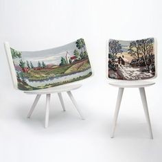 Embroidered chairs.