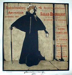 """Sarah Bernhardt""  Performances in Amsterdam.  Beggarstaff Brothers Nicholson - 1897"