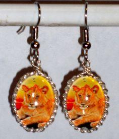 Ohrringe Löwe Damen Hänger Ohrschmuck Modeschmuck ohne Stein Durchzieher