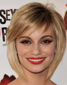 Angled Bob Hairstyle With Bangs. Thinking of getting side swept fringe bangs when I get my hair cut...but not sure