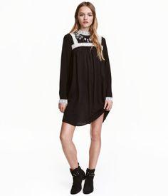 Vestido negro manga larga hm