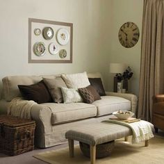 family room. I like the mismatched pillows.