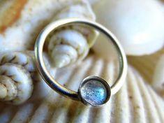 Labradorite Septum Ring. Nipple Piercing by LarryJewelryShop