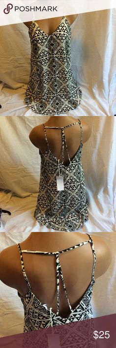LUSH Black/White Tribal Print Strappy Back Dress Super cute, NWT! 100% polyester. Lush Dresses Mini