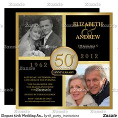 Elegant 50th Wedding Anniversary Photo Invitations